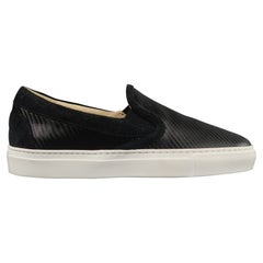 BARNEY'S NEW YORK Size 6 Black Textured Rubber & Suede Slip On Sneakers