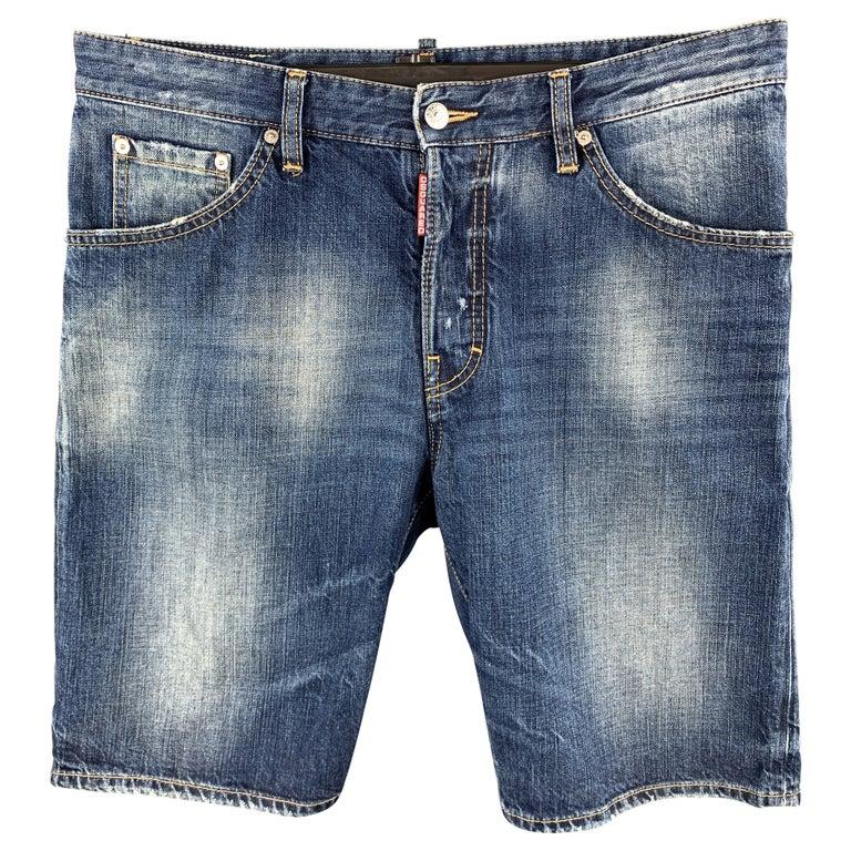 DSQUARED2 Size 34 Indigo Wash Cotton Button Fly Shorts