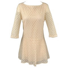SEE By Chloe Size 2 Cream Lace Cotton / Nylon Elastic Waistband A-Line Dress