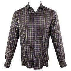 ETRO Size M Purple Plaid Cotton Button Up Long Sleeve Shirt