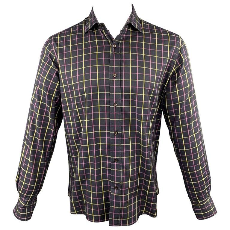 ETRO Size M Purple Plaid Cotton Button Up Long Sleeve Shirt For Sale