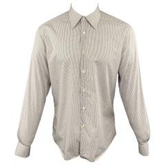 PRADA Size M White Plaid Cotton Button Up Long Sleeve Shirt