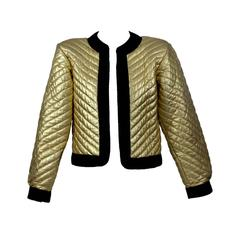 Vintage YSL Metallic Gold Quilted Leather Bomber Jacket  Yves Saint Laurent