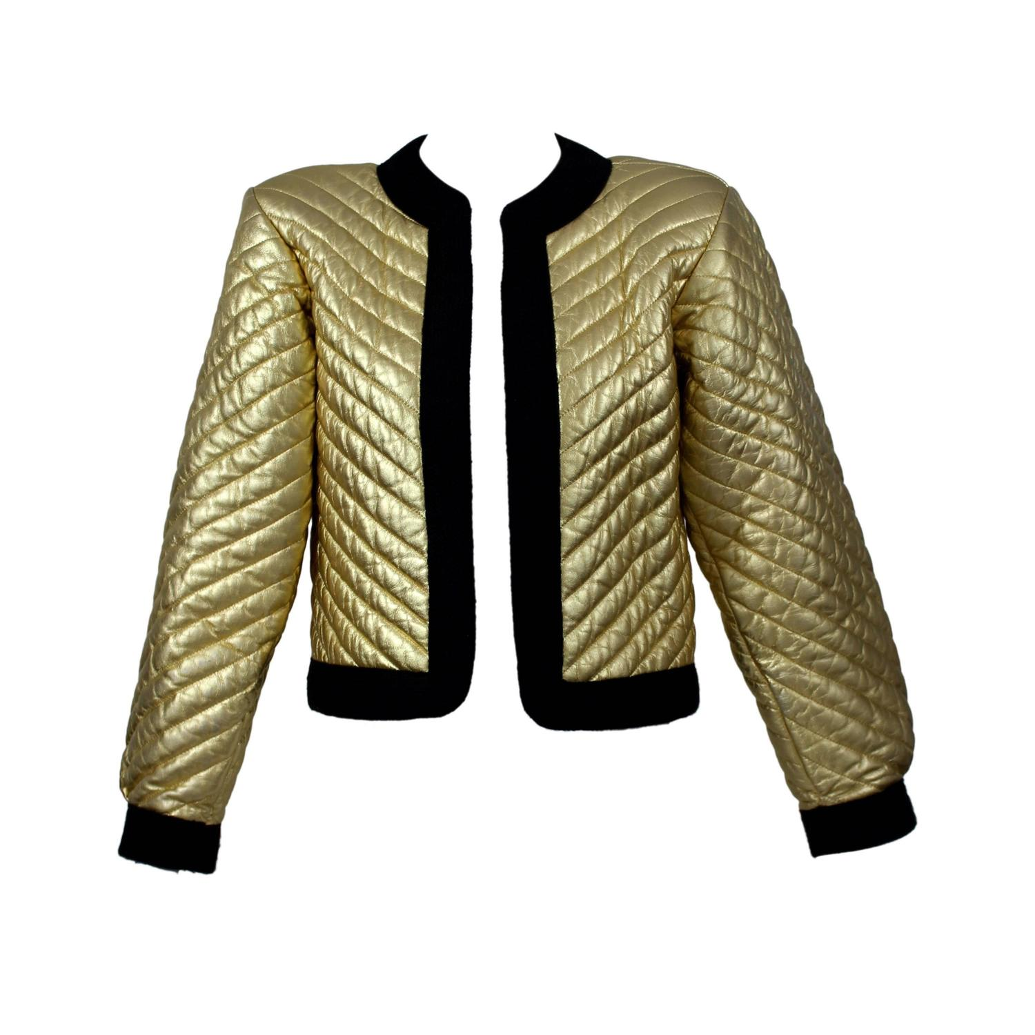 5b4a5c0207b Vintage YSL Metallic Gold Quilted Leather Bomber Jacket Yves Saint Laurent  at 1stdibs