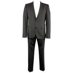 HUGO BOSS 44 Regular Black Solid Wool 36 x 32 Notch Lapel Suit