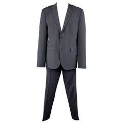 HUGO BOSS 44 Regular Navy Stripe Wool / Elastane 36 x 32 Notch Lapel Suit