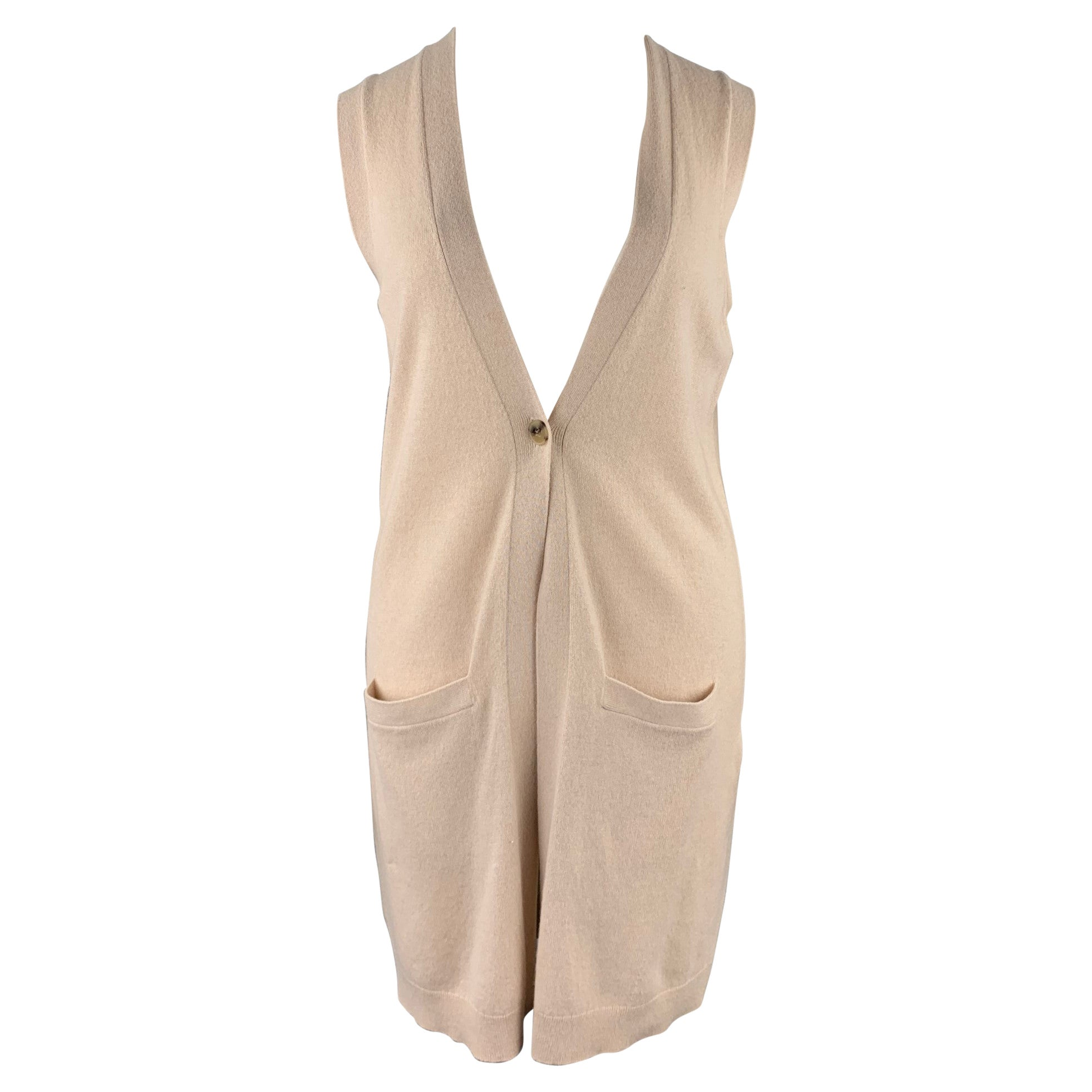 THEORY Size L Beige Knitted Cashmere Sleeveless Cardigan