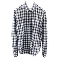 VINCE Size M Navy & Gray Plaid Cotton Button Down Long Sleeve Shirt