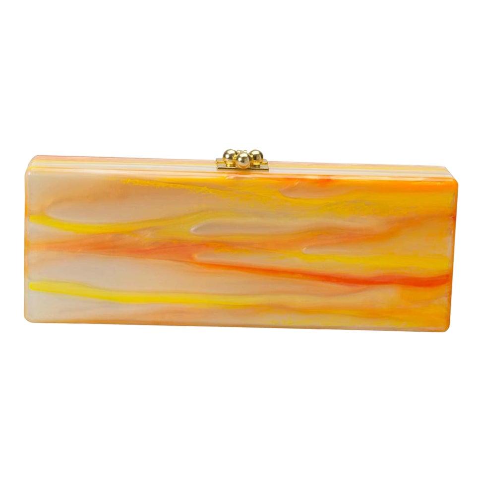 Edie Parker Brown/Orange Tiger Stripe Acrylic Clutch