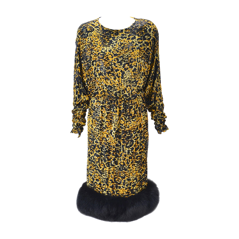 1980s Bill Blass Silk Burnout Yellow Leopard Print Dress with Mink Trim