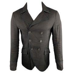 JOHN VARVATOS Size 34 Solid Black Viscose Blend Double Breasted Jacket