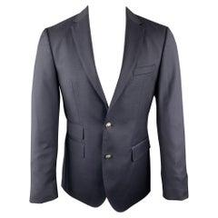 HUGO BOSS Size 36 Navy Woven Wool Notch Lapel Sport Coat