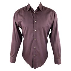 JOHN VARVATOS Size S Eggplant Purple Cotton Button Up Long Sleeve Shirt