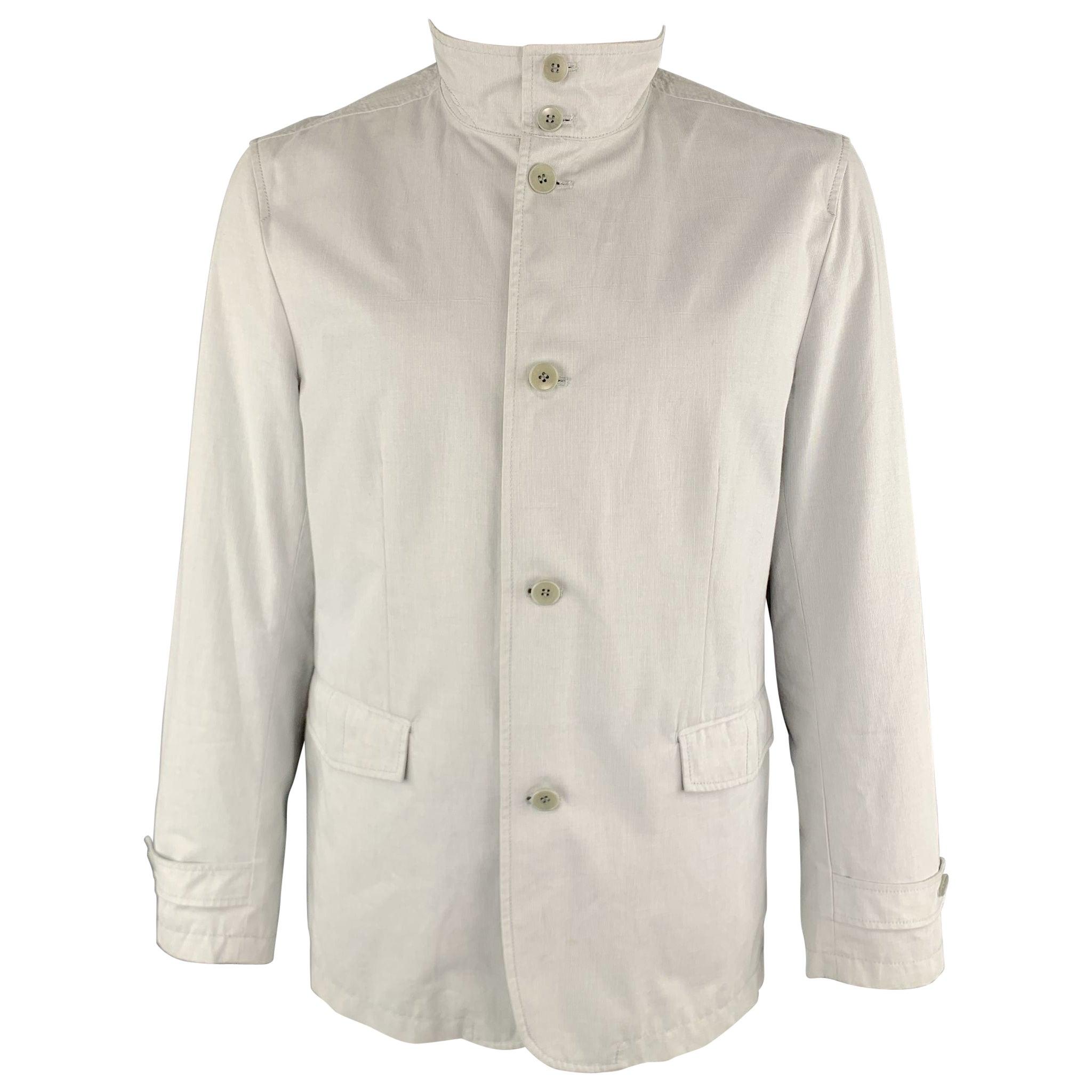 THEORY Jayden Size XL Light Grey Cotton High Collar Belted Cuffs Buttoned Jacket