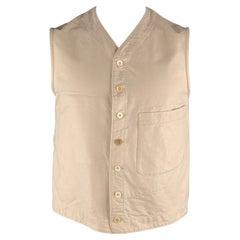 45rpm Size L Beige Solid Cotton Buttoned Vest