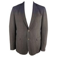 Z ZEGNA Size 44 Brown & Navy Ombre Plaid Regular Cotton / Wool Sport Coat