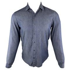 ETRO Size S Indigo Cotton Button Up Spread Collar Long Sleeve Shirt