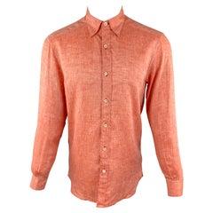 ERMENEGILDO ZEGNA Size S Orange Linen Button Down Long Sleeve Shirt