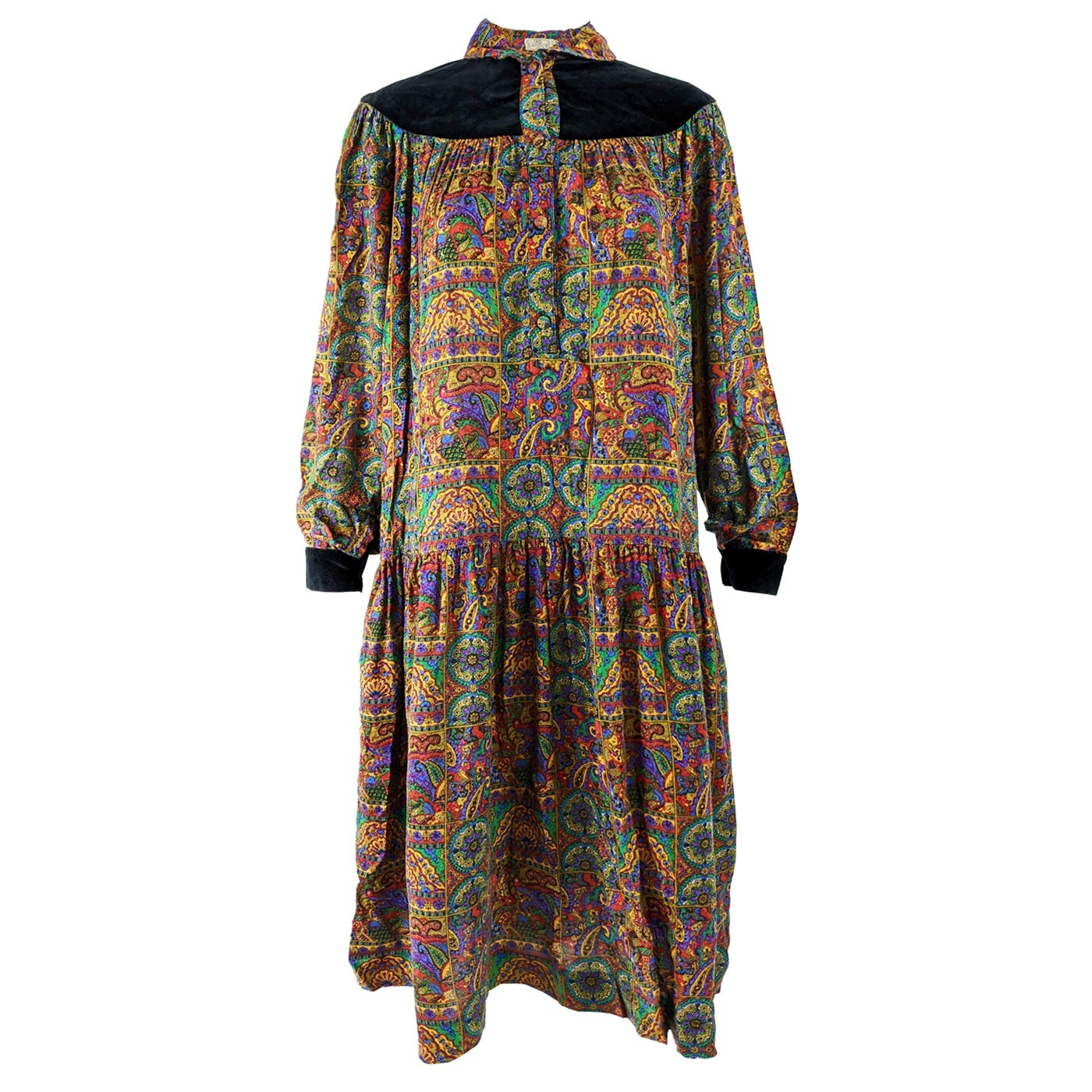 Ted Lapidus Vintage Paisley Oversized Smock Dress, 1970s