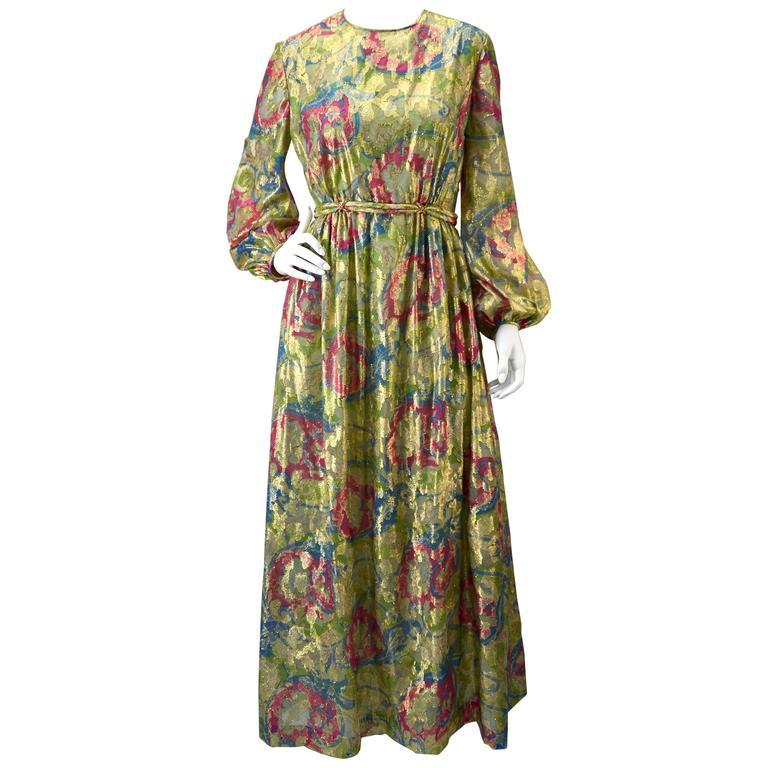 1960s Bonwit Teller Metallic Floral Evening Dress