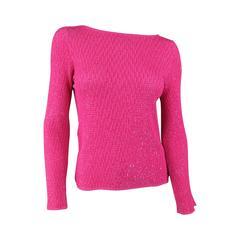 OSCAR DE LA RENTA Size M Fuschia Pink Silk Beaded Knit Scoop Neck Dress Top