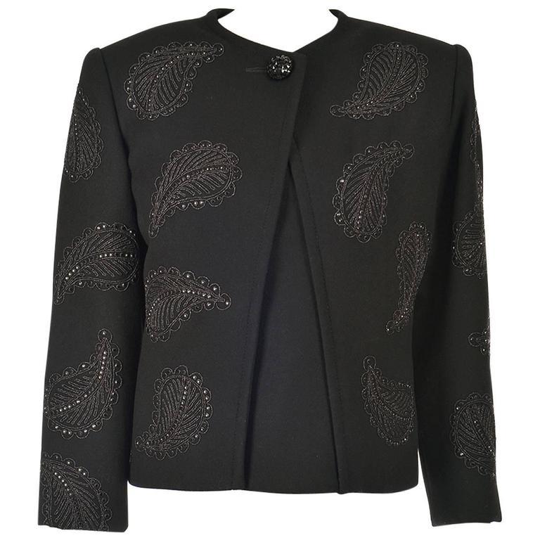1960s Galanos Black Wool Paisley Beaded Jacket 1