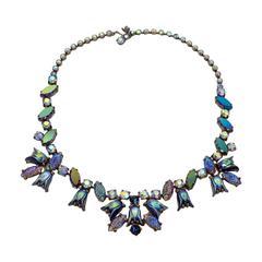 1950s Signed Elsa Schiaparelli Irridescent Blue Art Glass & Rhinestone Necklace