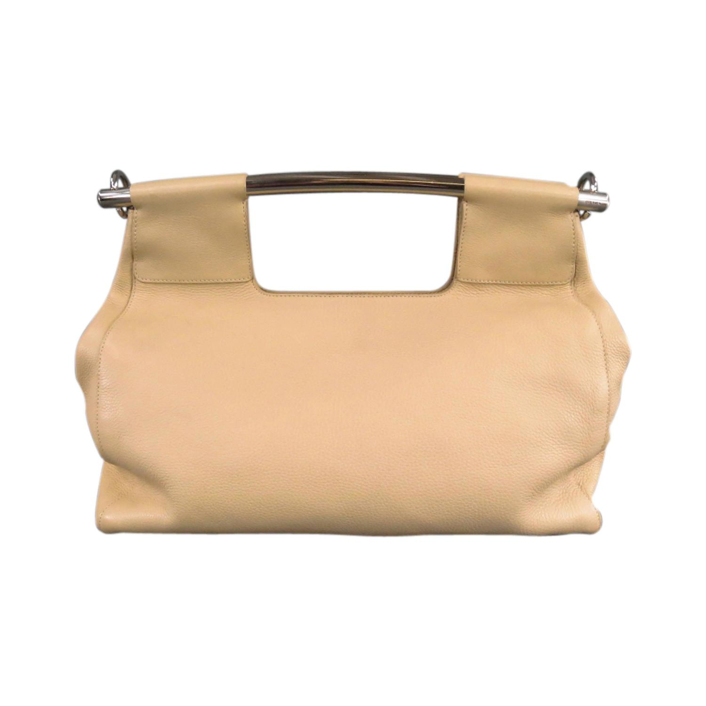 "prada knockoff handbags - PRADA Beige Leather Metal Bar ""Vitello Daino"" Tote Clutch Handbag ..."