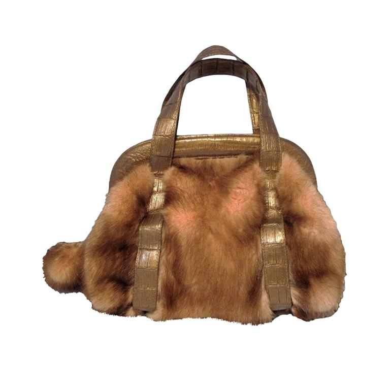 Nancy Gonzalez Pink Mink and Crocodile Handbag
