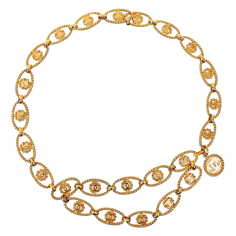 Chanel Vintage Golden Chain Belt with CC symbol