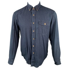 45rpm Size M Indigo Wash Dyed Cotton Button Down Long Sleeve Shirt