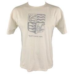45rpm Size M White Anchor Crest Vintage Effect Cotton Crew-Neck T-shirt