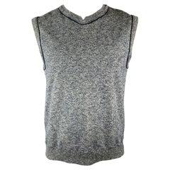 45rpm Size M Gray & Navy Heather Cotton Jersey V-Neck Vest