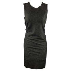 HALSTON HERITAGE 4 Charcoal Heather Virgin Wool Blend Sleeveless Sheath Dress
