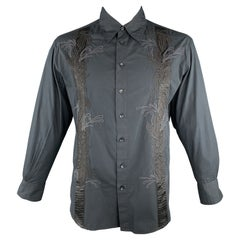 ROBERTO CAVALLI CLASS Size L Black Embroidery Cotton Button Up Long Sleeve Shirt