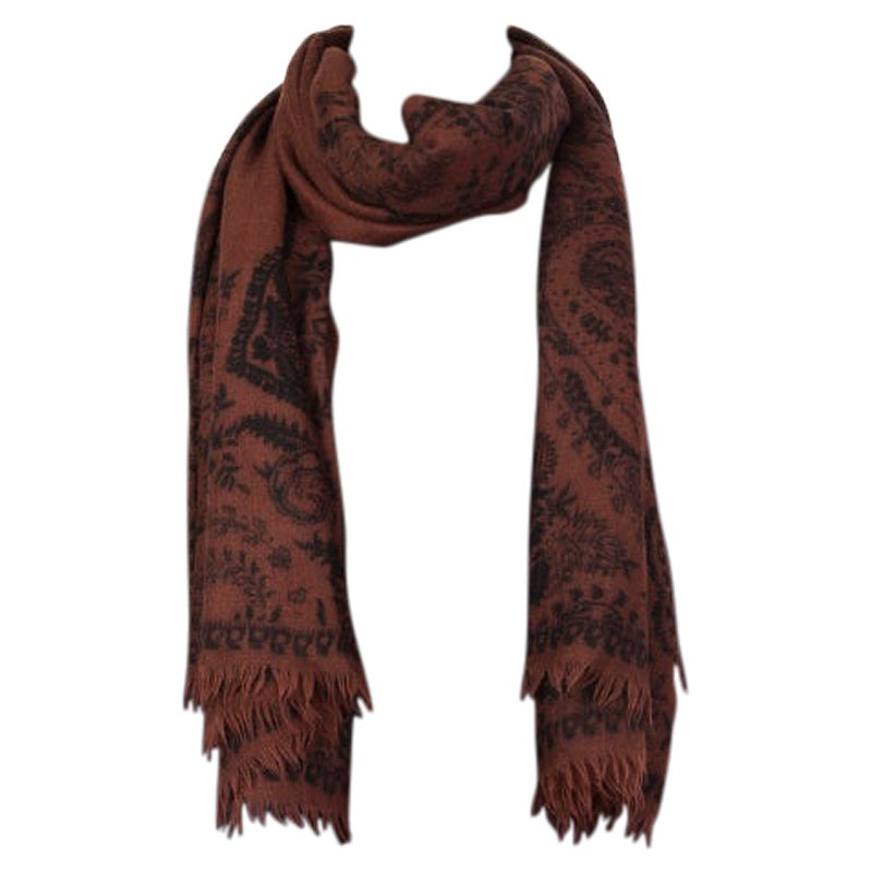 ETRO brown & black PAISLEY cashmere Oblong Scarf Shawl