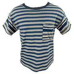 KAPITAL Size S Indigo Stripe Cotton Boat Neck T-shirt