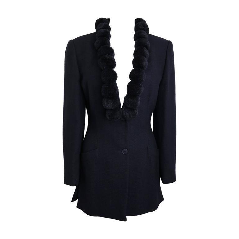 Alberta Ferretti Navy Pom Bouclé Jacket