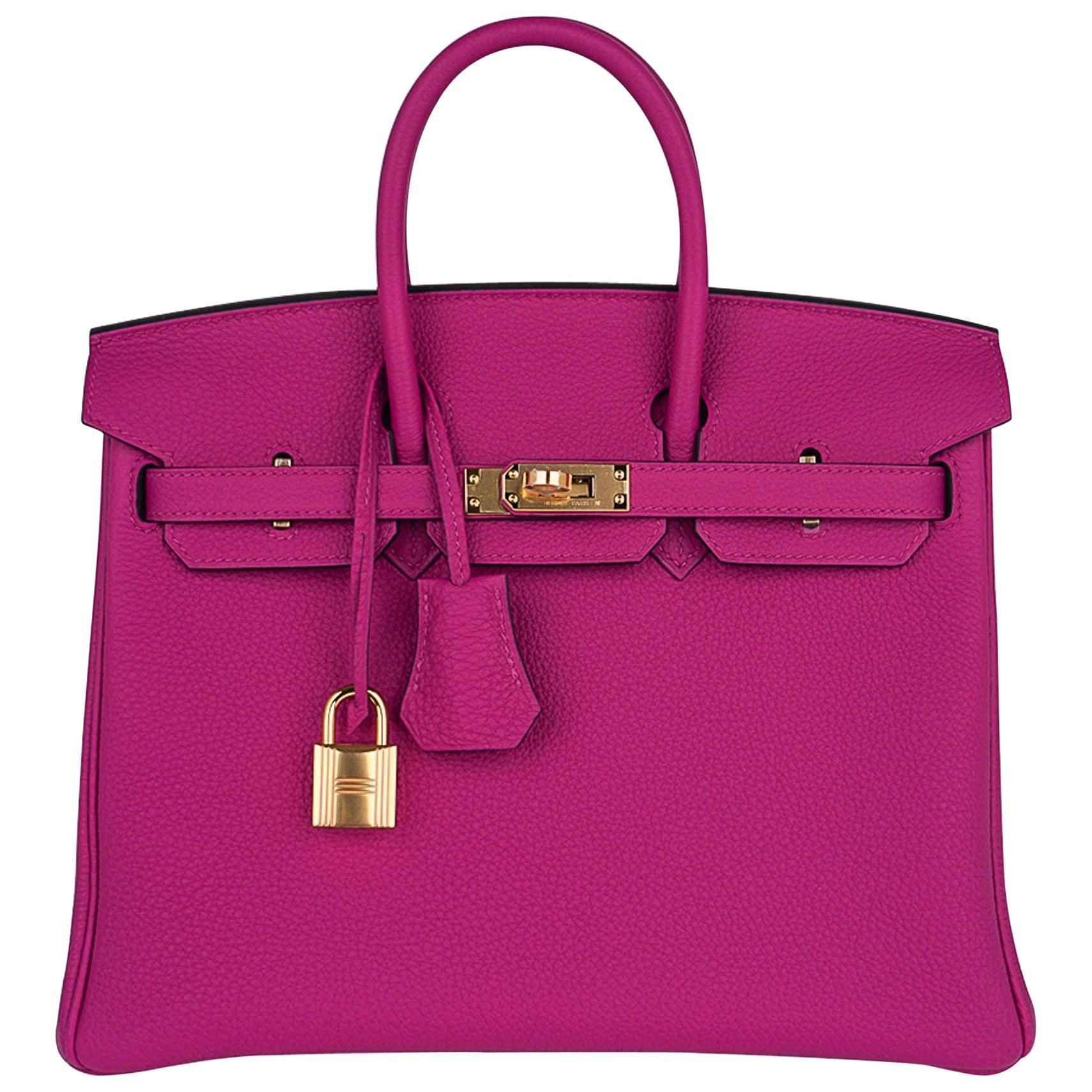 Hermes Birkin 25 Bag Rose Pourpre Togo Leather Gold Hardware