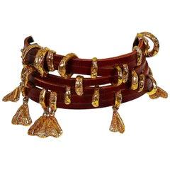 Christian Lacroix Vintage Leather Choker Necklace