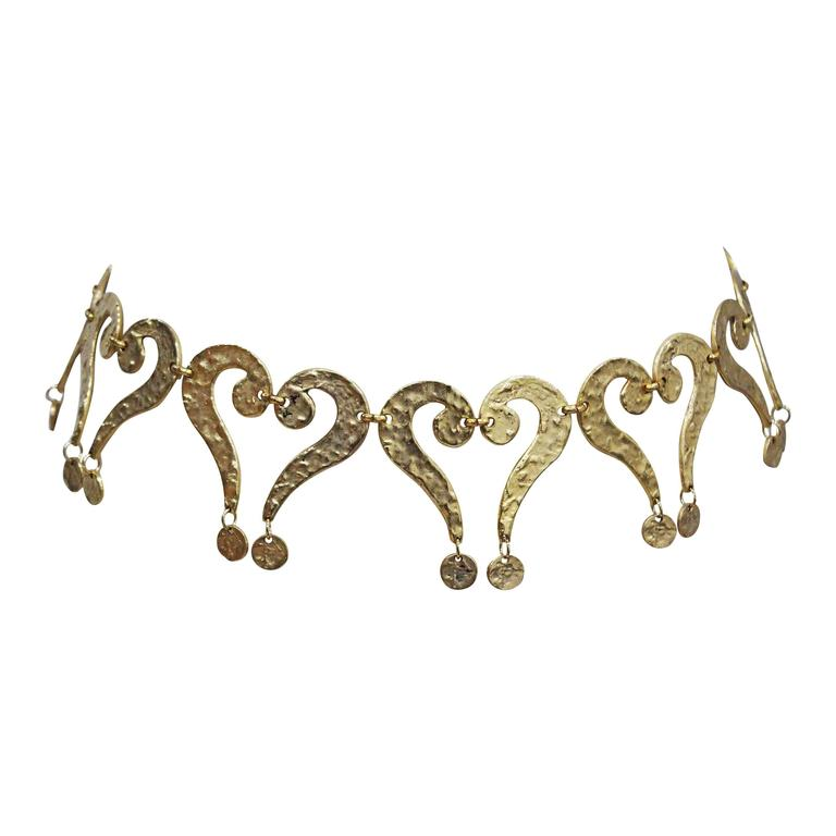 Moschino gold question mark/heart belt, c. 1990s  For Sale