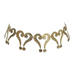 Moschino gold question mark/heart belt, c. 1990s
