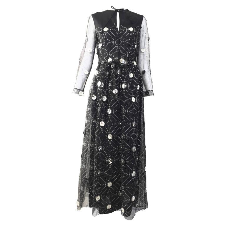 1970s Oscar De La Renta black and silver paillette dress 1