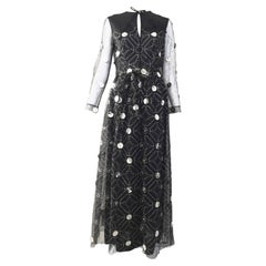 1970s Oscar De La Renta black and silver paillette dress