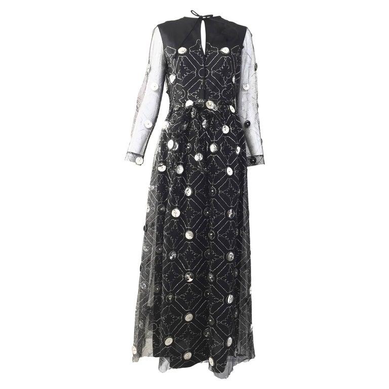 1970s Oscar De La Renta black and silver paillette dress For Sale