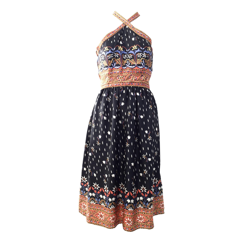 1970s Oscar De La Renta silk print halter dress
