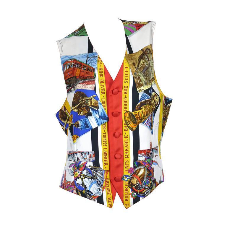 Hermès New Orleans Jazz Printed Silk Vest Size 50