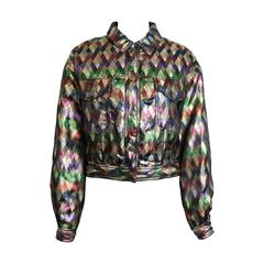 Moschino Jeans Colour Blocked Metallic And Sequinned Jacket