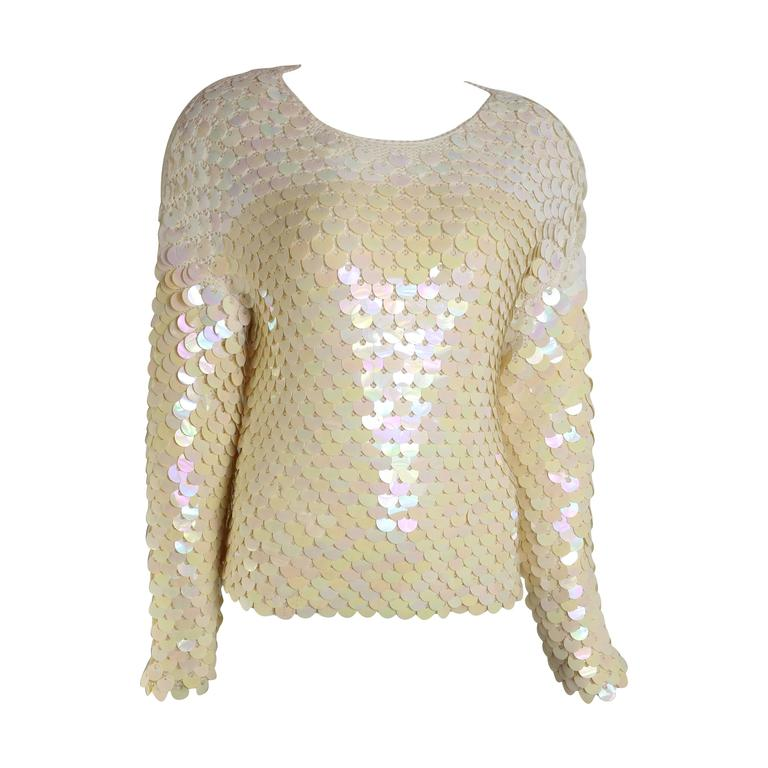 Escada Ivory Iridescent Paillettes Knitted Top