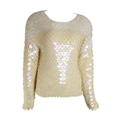 Unworn Glamorous 80s Escada Ivory Sequins Knitted Top